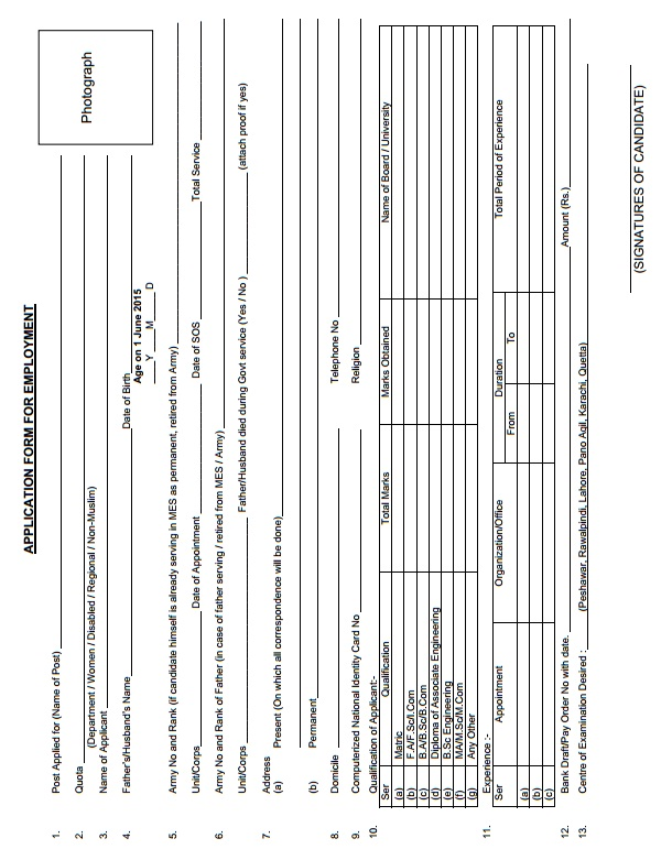 MES (Pak Army) Job Application Form for Employment
