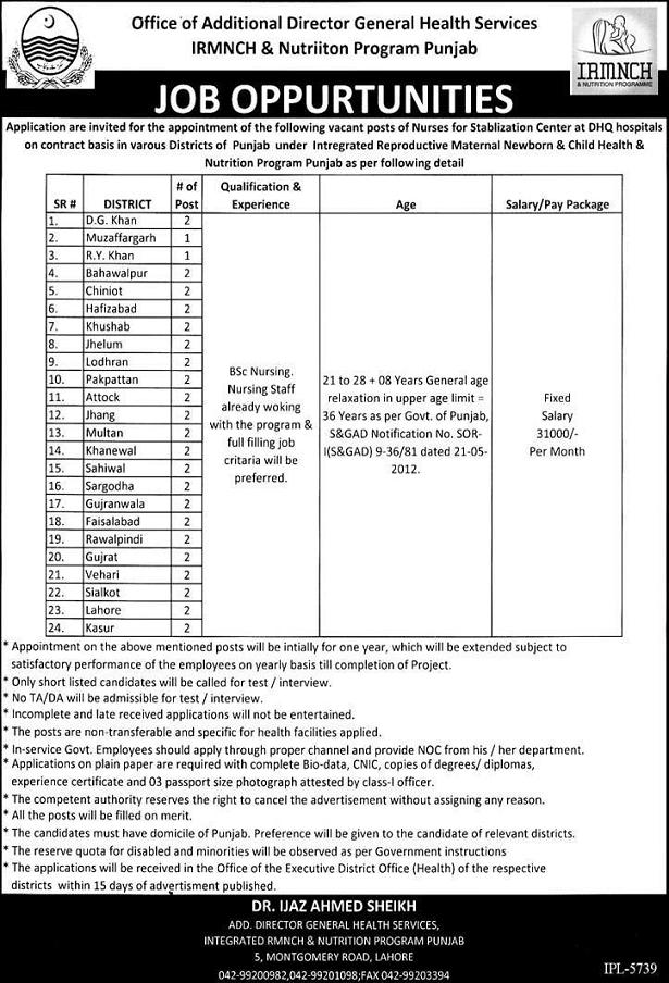 Nurses Jobs in Stabilization enter DHQ Hospitals IRMNCH Punjab