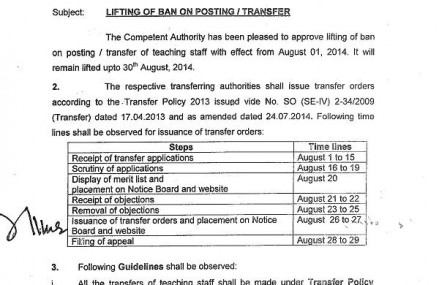 Punjab will lift Ban on Transfer Posting of Teachers w.e.f June 1, 2015