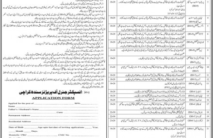 Job Application Form for Sindh Prisons Department Karachi