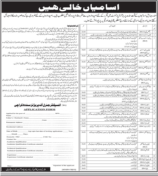 Sindh Prisons Jobs