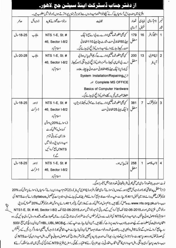 Vacancy in Lahore District and Session Judge Court 1