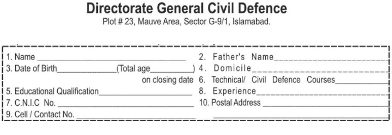 Application Format in DG Civil Defence Department