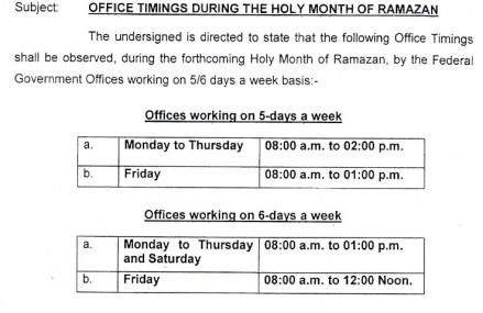 Ramzan Office Timing Notification 1436 For Federal Govt Employees