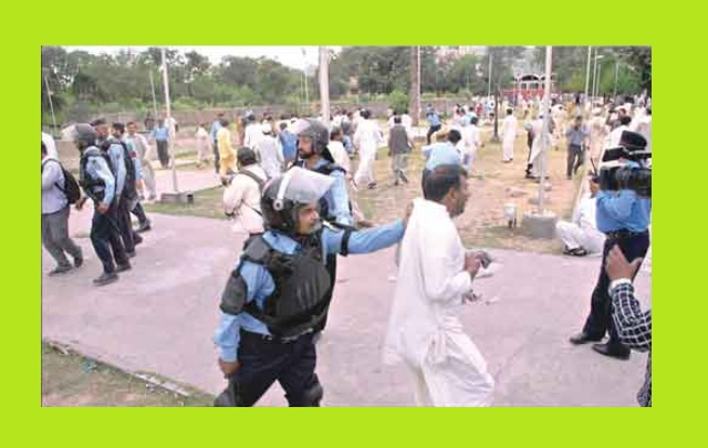 Islamabad Police Arresting APCA Employee in Protest