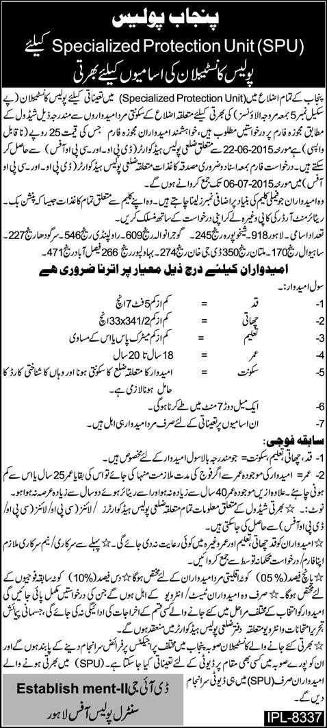 Police Constable Jobs in Punjab for SPU in BPS-5