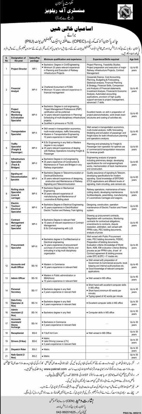 Jobs in Pak-China Economic Corridor Project in Pakistan Railways