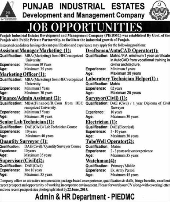 Jobs in Punjab Industrial Estate Dev and Management Company