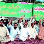 Motahida Mohaz Asatiza Protest at Faisal Chowk Mall Road Lahore 15-6-2015
