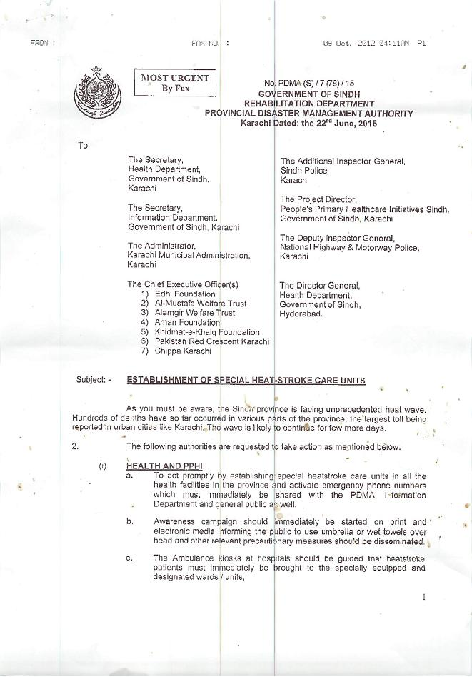 Notification of Establishment of Special Heat Stroke Care Unit in Province 23-6-2015 a