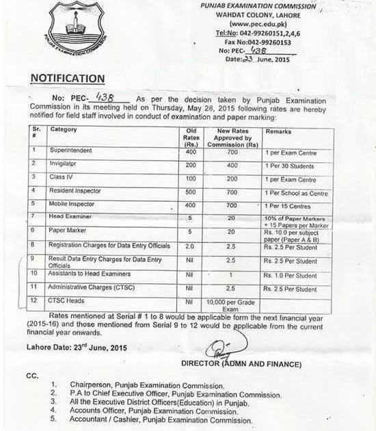 Punjab Examination Commission Revised Rate Notification 2015