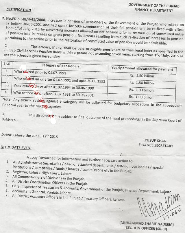 Punjab Govt Pensioners Pension Re-Fixation Notifixcation June 2015