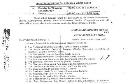 Sindh Government Offices Timing in Ramazan Mubarak 1436 AH/2015 AD