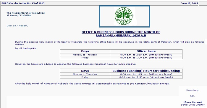 Ramzan Office Timing Notification 2015 - 1436
