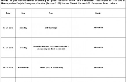 Rescue 1122 Interview Schedule July 2015