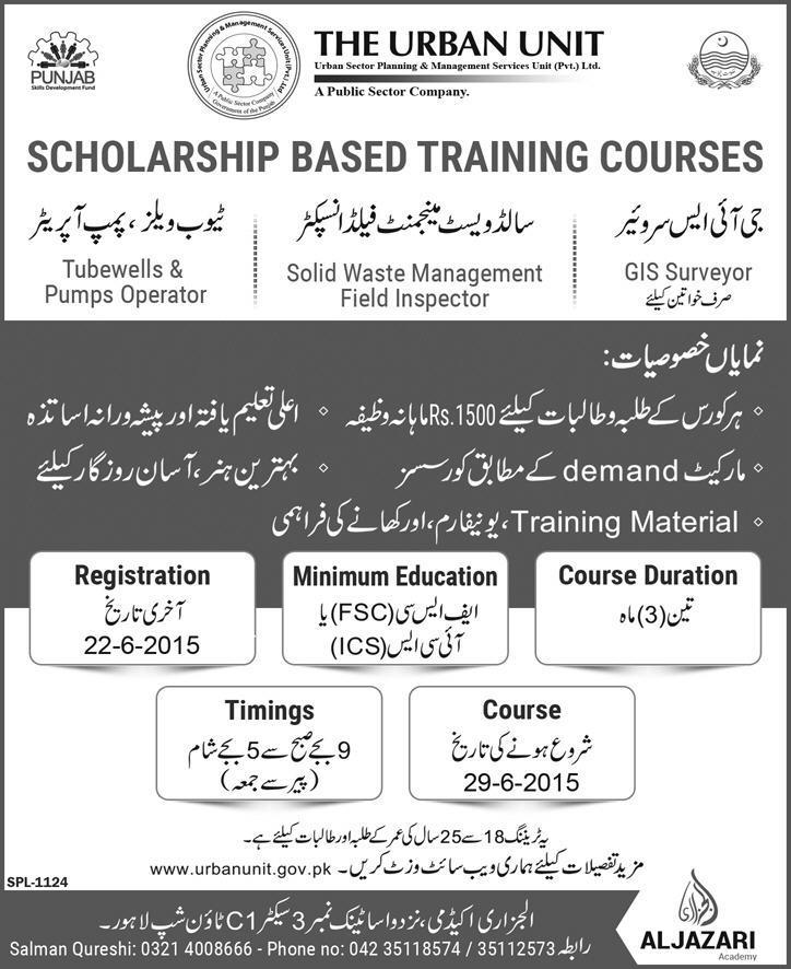 Urban Unit Punjab offer Scholarship based training courses