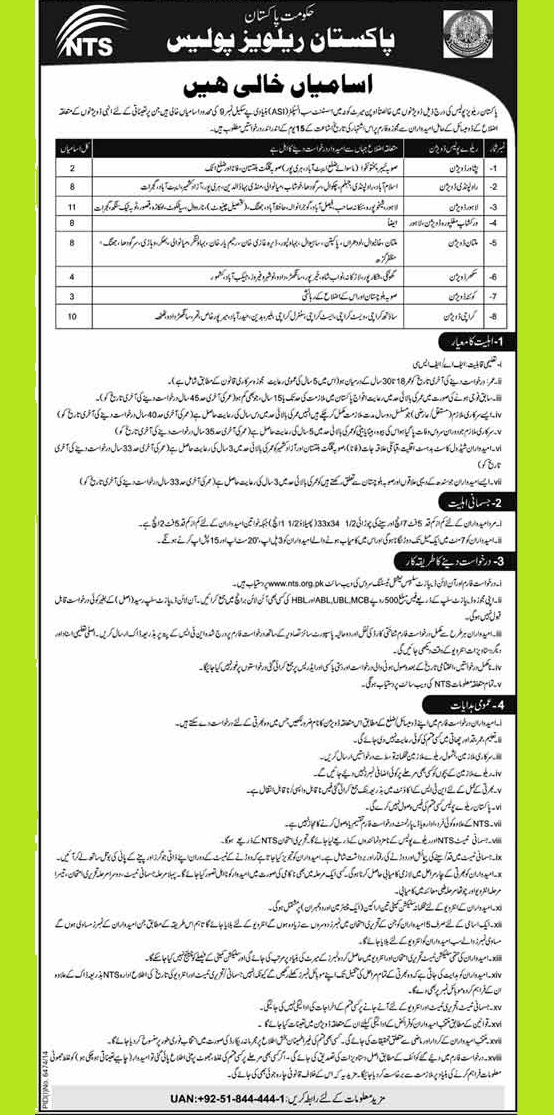 Vacant Posts od Assistant Sub-Inspector (ASI) in Pakistan Railways Police