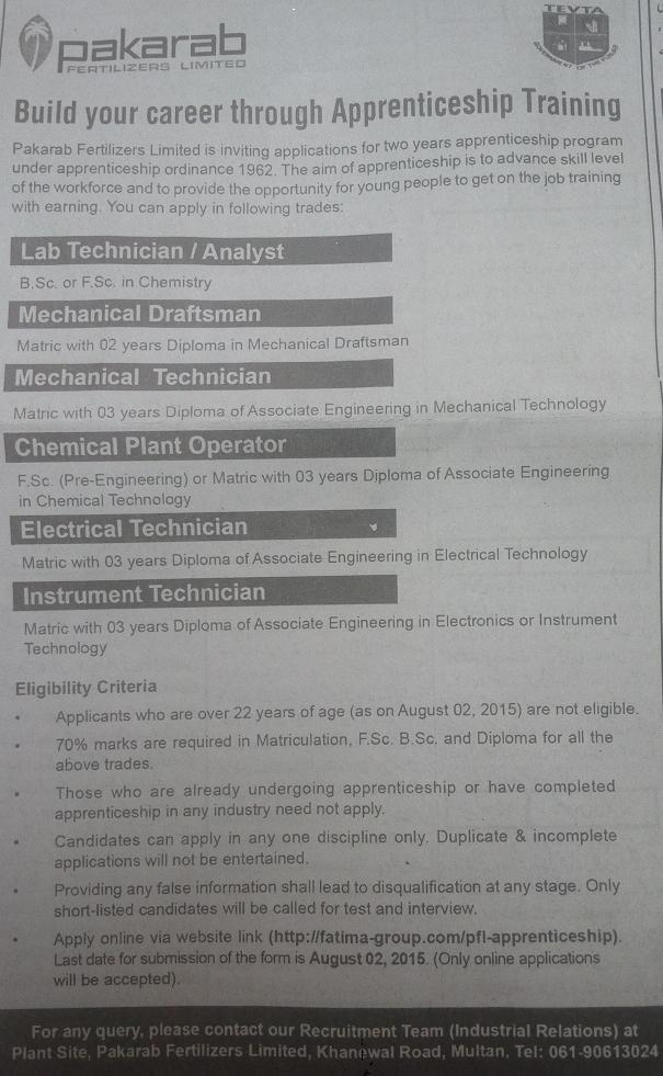 Apprenticeship Training in Pakarab Fertilizers Multan