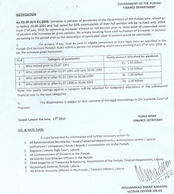 Finance Department Notification - Punjab Pensioners Pension Restoration Case dated 17-6-2015