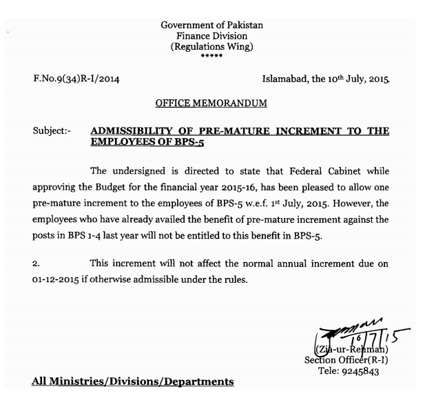 Finance Division Notification of premature increment to employees of BPS-5