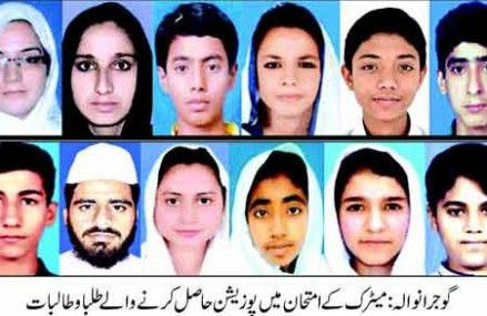 Gujranwala Board Matric Result Toppers 2015