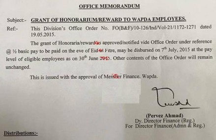 Grant of Reward/Honorarium to WAPDA Employees on Eid-ul-Fitr 2015/1436