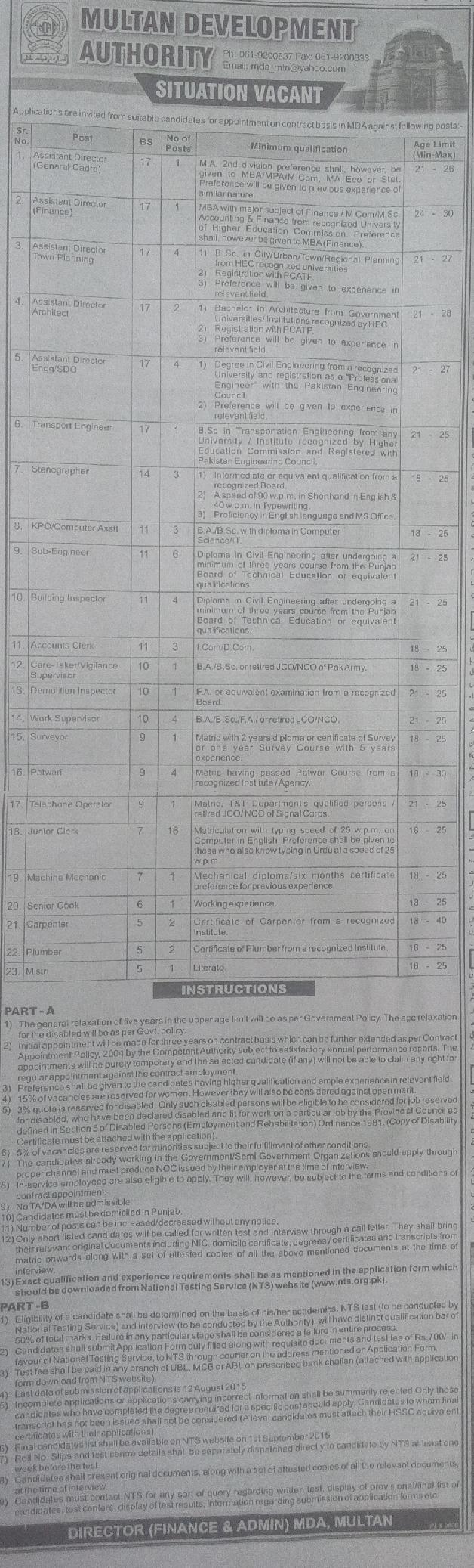 Jobs in MDA - Multan Development Authority