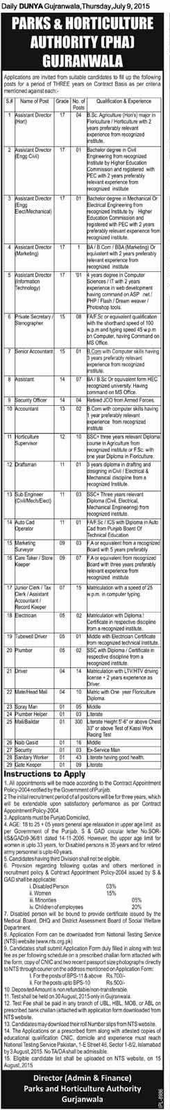 Jobs in PHA Gujranwala