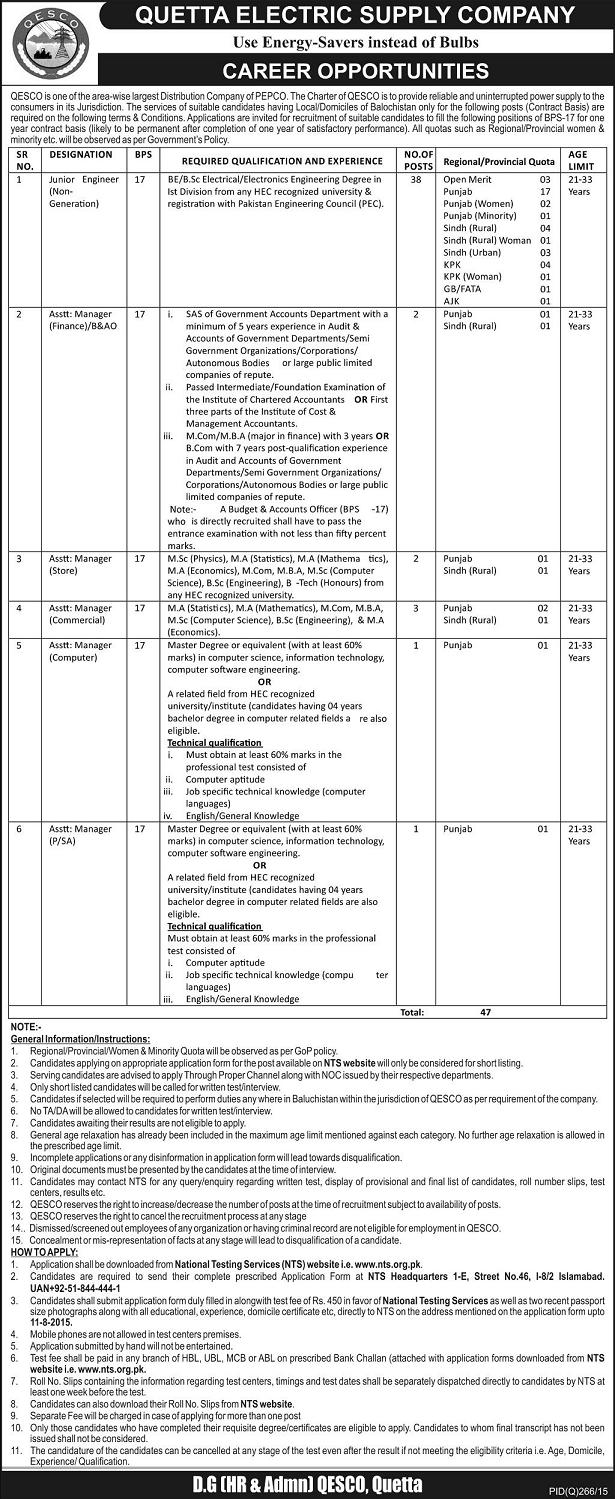 Jobs in Quetta Electric Supply Company (QESCO)