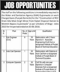 Jobs in PHA and WASA (GDA) Gujranwala