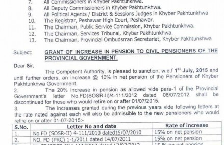 KPK Govt Notification of Increase in Pension of Civil Pensioners dated 14-7-2015