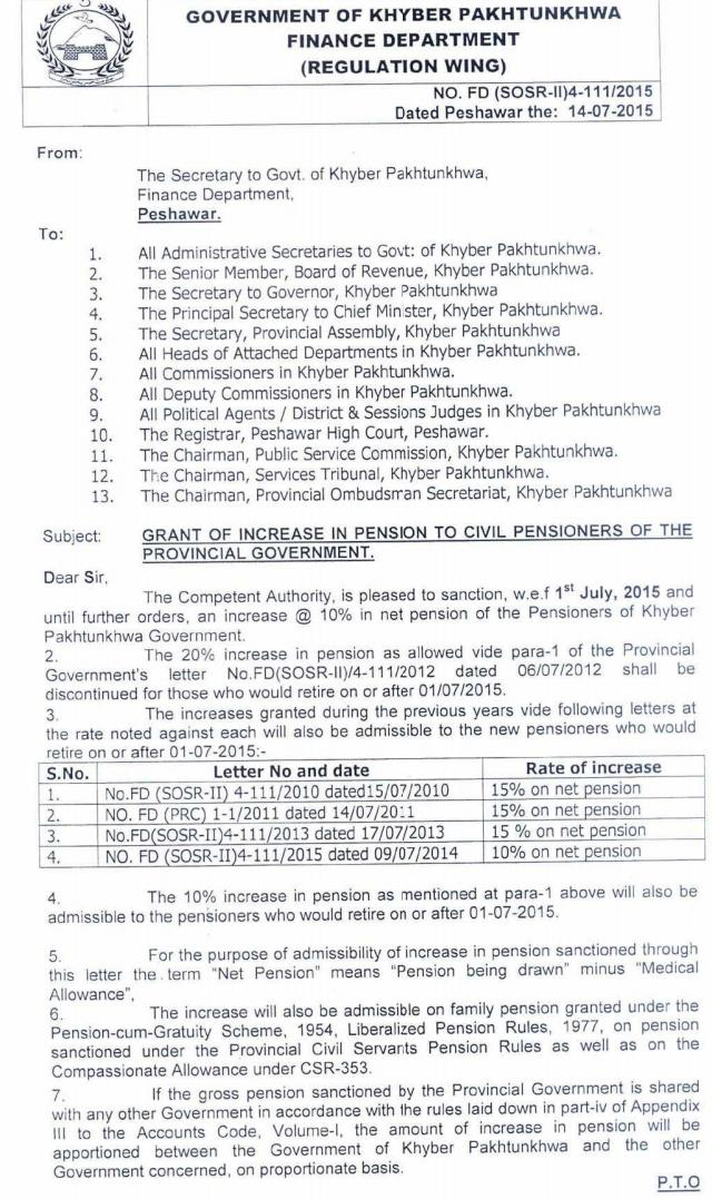 KPK Govt Notification of Increase in Pension 2015 a