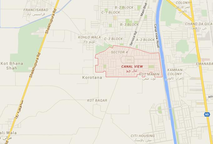 Location Map - Canal View Housing Scheme Gujranwala - Oasis High School
