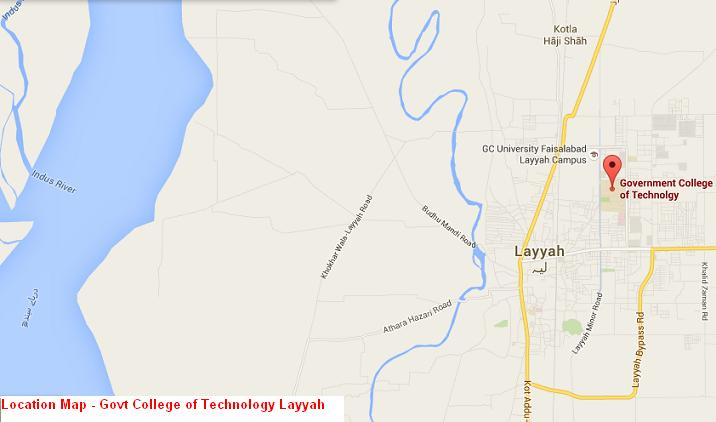 Location Map GCT Layyah - Govt College of Technology Layyah
