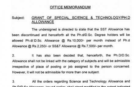 Notification Grant of Ph.D/Special Science and Technology Allowance 2015