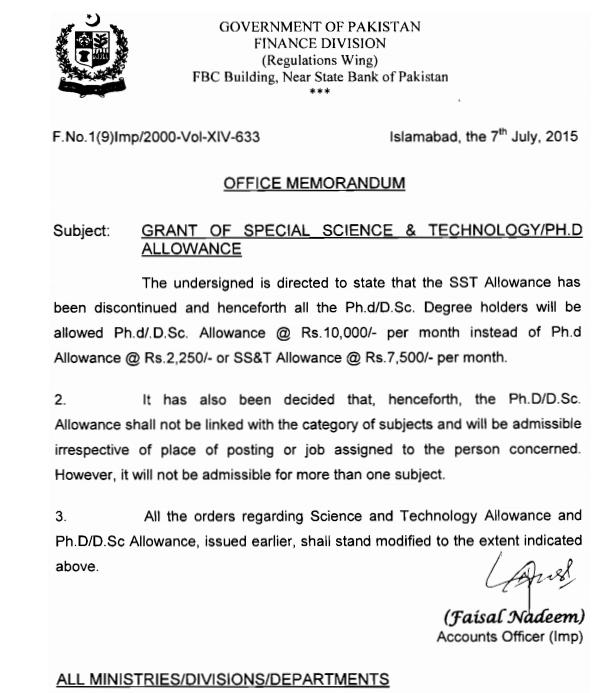 Notification Grant of Ph.D-Special Science and Technology Allowance 2015
