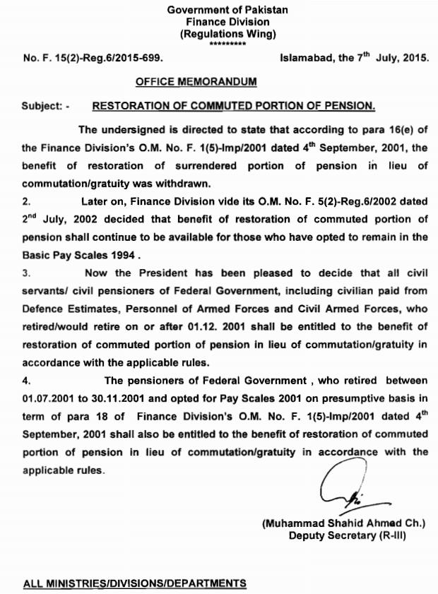 Notification of Restoration of Commuted Portion of Pension 2015