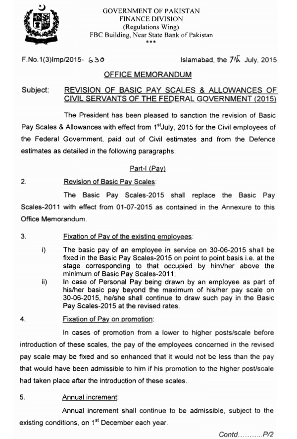 Notification of Revision of Basic Pay Scales 2015 and Allowanced of Federal Govt Employees 1
