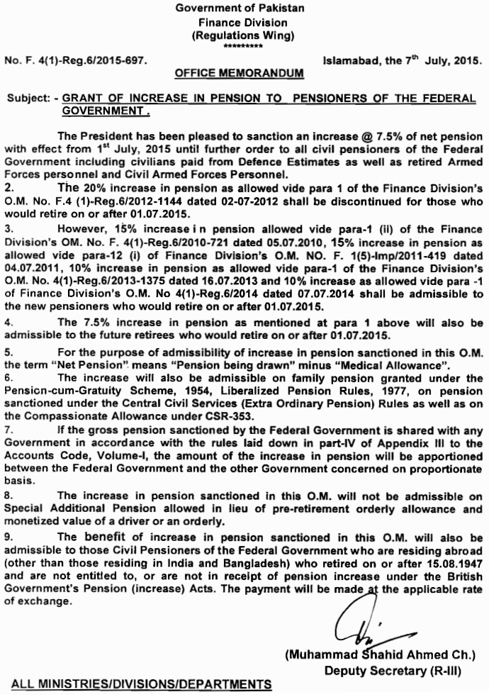 Pension Increase Notification for Federal Govt Pensioners - Finance Division 7 July 2015