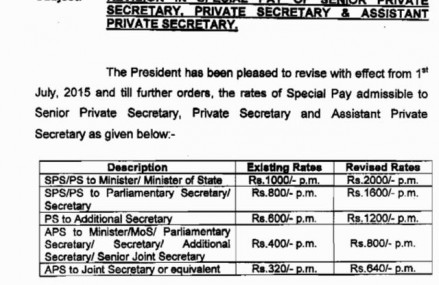 Revision of Special Pay of Senior PS, PS and Assistant Private Secretary