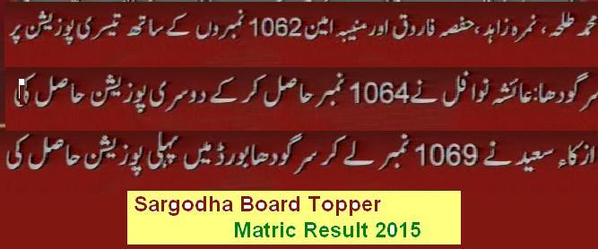 Sargodha Board Matric Topper 2015