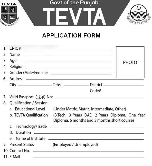 TEVTA Job Application Form for Overseas Countries