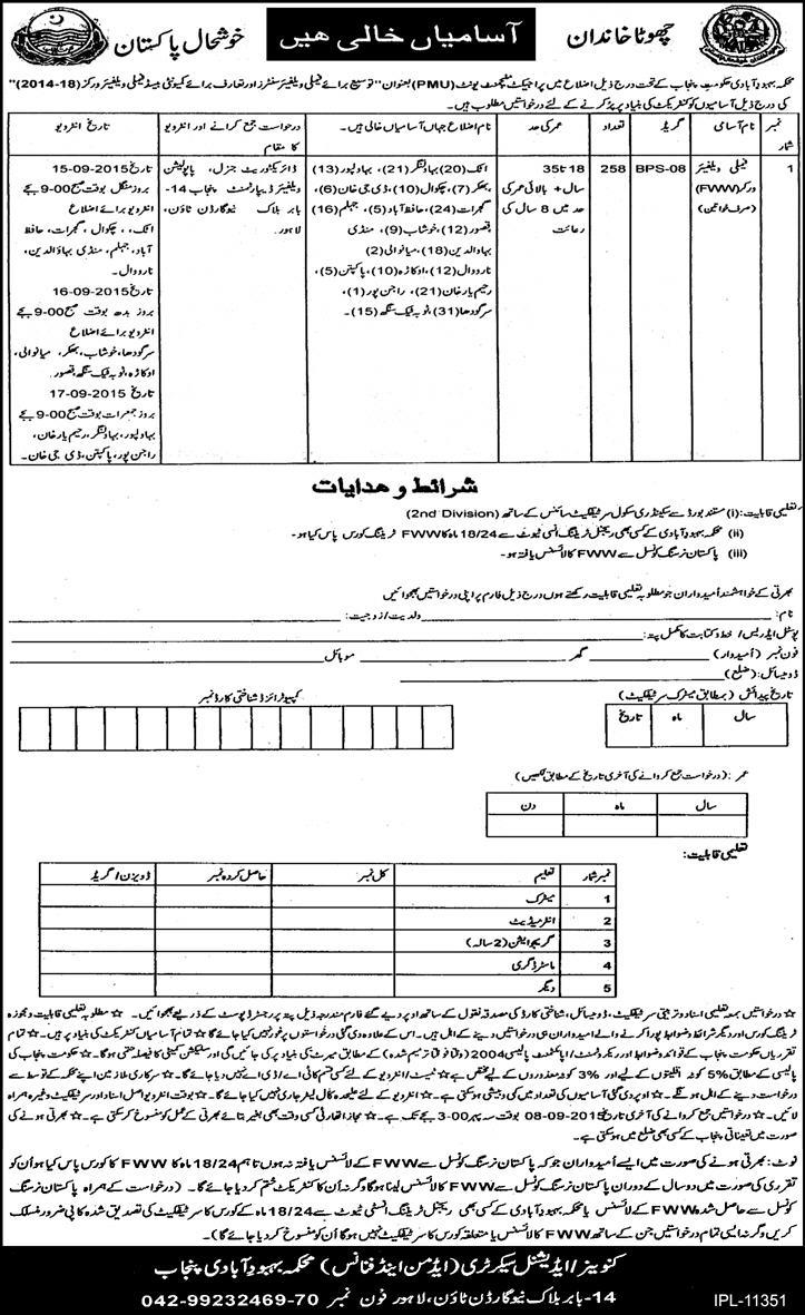 Jobs For Family Welfare Workers (FWW) in Population Welfare Dept Punjab