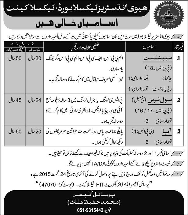 Nurse Jobs in Heavy Industries Taxila