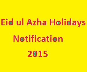 Eid ul Azha Holidays Notification Govt of Pakistan