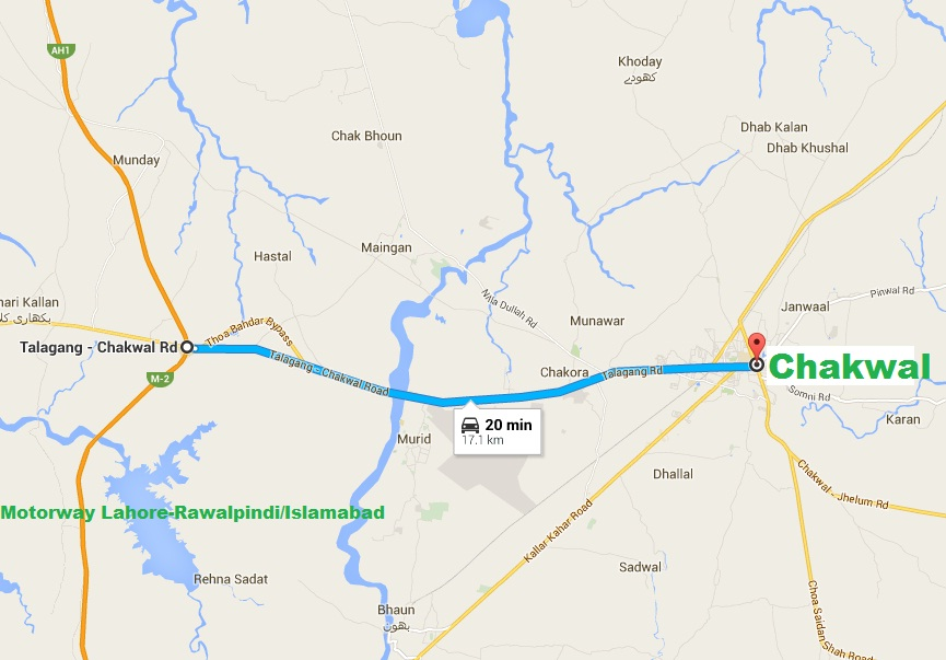 GCT Chakwal Talagang Road - Location Map to Motorway Distance 17 Km