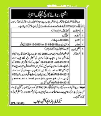 Jobs Of College Teaching Internees in Punjab
