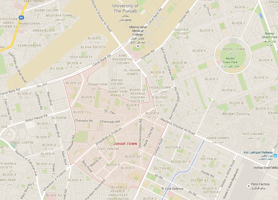 Location and Detail Map - Johar Town Lahore with Model Town, Punjab University, Faisal Town