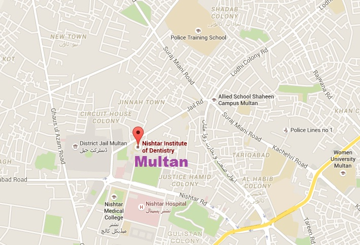 Nishtar Institute of Dentistry Multan - Location Map