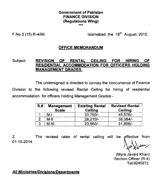 Finance Division Notification of Revision of Rental Ceiling for Hiring of Residential Accommodation for Officer in Management Cadres